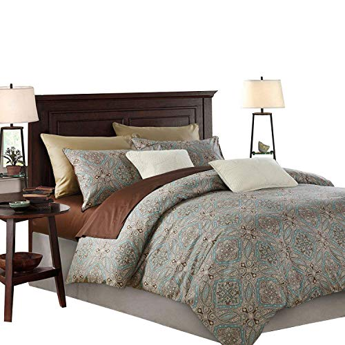 SexyTown King Duvet Cover Set Paisley Bedding Boho Chic Damask Medallion Printed 1200tc Egyptian Cotton Percale Weave Duvet Quilt Cover 3pcs Soft Breathable Bedding King Pattern E (Comes What A Set In Duvet)