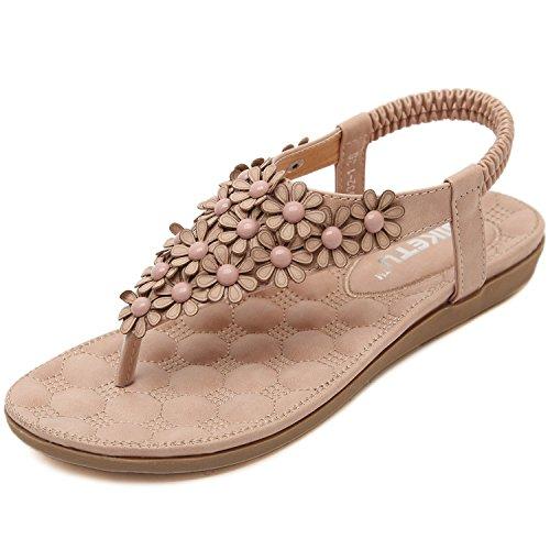 DQQ Damen Flower Perlen Knöchel strapthong Sandale, Pink - 1 - Größe: 38