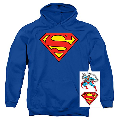 Superman Classic Logo Pull-Over Hoodie Sweatshirt