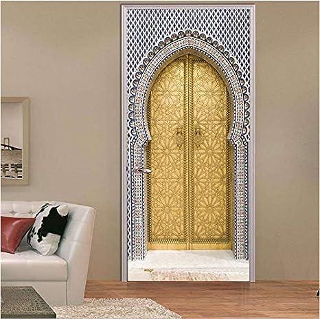 YFXGSTLI DIY 3D Etiqueta De La Pared Mural Decoración para El Hogar Aladdin Árabe Marruecos Extraíble Papel Pintado Puerta Calcomanía 90X200Cm: Amazon.es: Hogar
