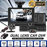 New 3 Lens Car DVR,4'' HD 1080P Dash Cam Vehicle Video,Car Driving Recorder Rearview Camera,G-Sensor,170° Wide Angle, Loop Recording,Motion Detection and Parking Monitor Function,Automatic Record,Nig