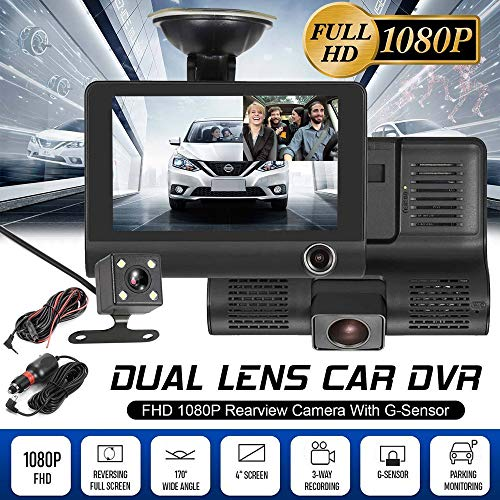 "3 Lens Dual Car Dash Cam – New 4"" HD 1080P Vehicle Video Recorder Rearview Camera Driving Monitor, Automatic Record, 170° Wide Angle, G-Sensor Function, USB Function (Black)"