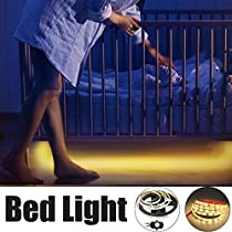 LEBRIGHT Motion Activated Bed Light,1.5m Flexible LED Strip Motion Sensor Night Light Bedside Lamp Illumination with Automatic Shut Off Timer