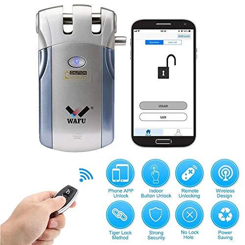 WAFU Intelligent Bluetooth Keyless Door Lock with Smartphone App, Hidden Smart Security Door Lock with APP(iOS/Android) WF-018U