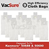 Kenmore HEPA Cloth Vacuum Bags TYPE O & U for Upright Vacs, Panasonic Type U-2 Vacuum Bags by VacSure (9 Bags Included)