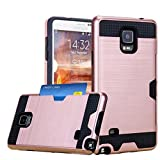 Galaxy Note 4 Case, Cellaria Card Slot Series - [Shockproof][Drop Protection] Hybrid Dual Layer Slim Wallet Case Cover For Samsung Galaxy Note 4, Rose Gold