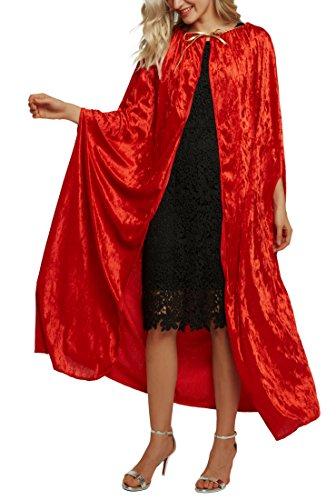 Urban CoCo Women's Costume Full Length Crushed Velvet Hooded Cape (Series -