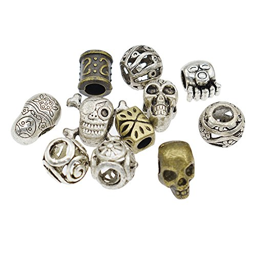 Skull Hollow Braiding DIY Accessory Dread lock Hair Beads Hair Braid Pins Rings Cuff Clips Tibetan Jewelry Decor (Alloy Lock Ring)