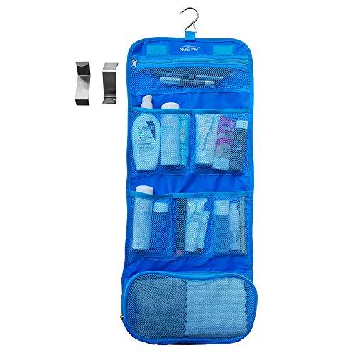 Accrocher le sac organisateur pour cosmétiques maquillages toilette toilettage et stockage bijoux - deux Bonus gratuit sur la porte en acier inoxydable crochets - idéal pour la maison et voyage - imperméable à l'eau un accessoire indispensable - pli Compa