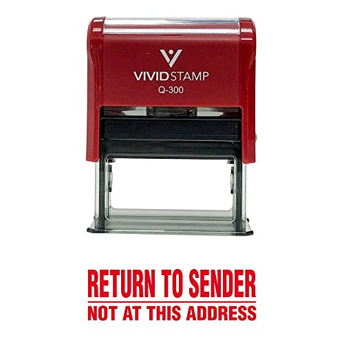Return to Sender Not at This Address Self Inking Rubber Stamp (Red Ink) - Large -