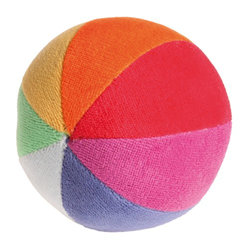 Grimm's Soft Organic Rainbow Ball with Gentle Rattle - First Ball for Baby (Ball Organic Velour)