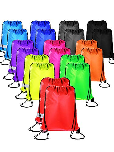 20 Pieces Drawstring Backpack Sport Bags Cinch Tote Bags for Traveling and Storage (20 Colors, Size 1) ()