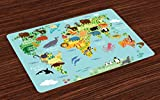 Ambesonne Wanderlust Place Mats Set of 4, Animal Map of The World for Children Kids Cartoon Mountains Forests, Washable Fabric Placemats for Dining Room Kitchen Table Decor, Pale Blue Yellow Green