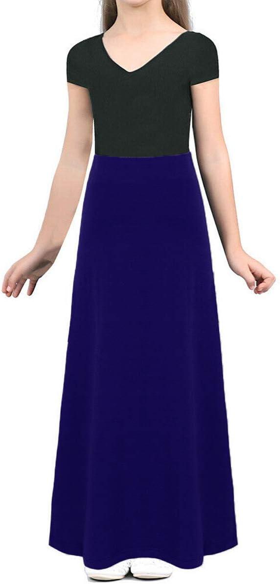 Ozmoint Girls Kids Child Long Maxi Skirt Elasticated Waist Modest Abaya Stretch