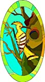 Yellow, Brown & White Woodpecker Bird - Etched Vinyl Stained Glass Film, Static Cling Window Decal