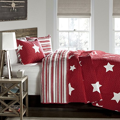 Kids Twinkle Stars Quilt 2 Piece Set Twin, Sky Stars Print Pattern, Patriotic Novelty Design, Amazing Quality, Solid Color Geometric Patchwork Background, Reversible Bedding, Dark Red White