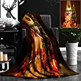 Nalagoo Unique Custom Flannel Blankets Christmas Tree In Room Xmas Home Night Interior Fireplace Lights Decoration Hanging Socks Super Soft Blanketry for Bed Couch, Throw Blanket 50'' x 70''