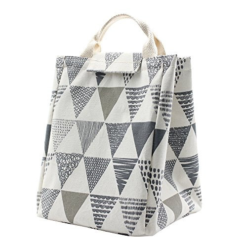 h Bag, Foldable Canvas Lunch Tote Travel Bag Lunch Box Holder Bento Cooler Bag for Women Men Kids Adults (Triangle Pattern) ()