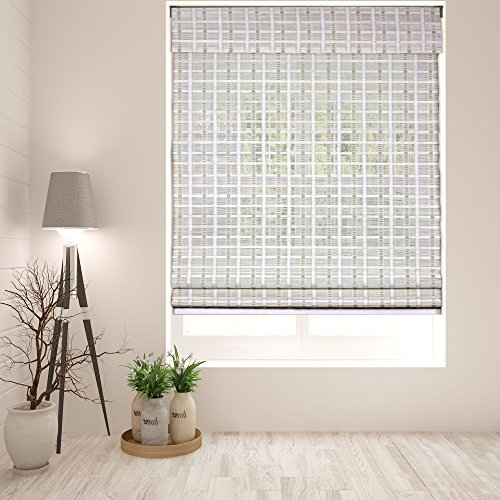 Arlo Blinds Cordless Whitewash Bamboo Roman Shades Blinds - Size: 34