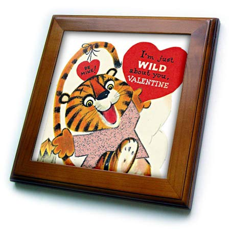 - 3dRose Cassie Peters Valentine - Vintage Valentine Tiger - 8x8 Framed Tile (ft_305806_1)