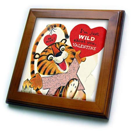 3dRose Cassie Peters Valentine - Vintage Valentine Tiger - 8x8 Framed Tile (ft_305806_1) (Tiger Framed Tile)