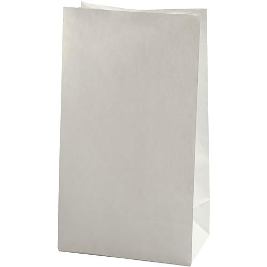 Bolsas de papel, medidas 15x9x27 cm, 46 gr, blanco, 100ud ...
