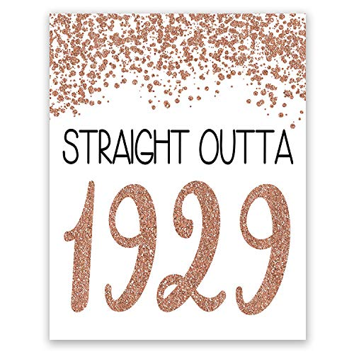 PGbureau 11x14 in 90th Rose Gold Birthday Party Decoration - Cheers to 90 Years Poster - Happy 90th Sign - for Women - Anniversary
