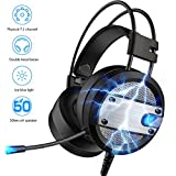 SMAVR Gaming Headset for ps4 headset, Over Ear Gaming Headphones with Mic, surround sound bass, Noise cancelling, LED Light for PC,Mac,Laptop, Nintendo Switch (STL-Black)