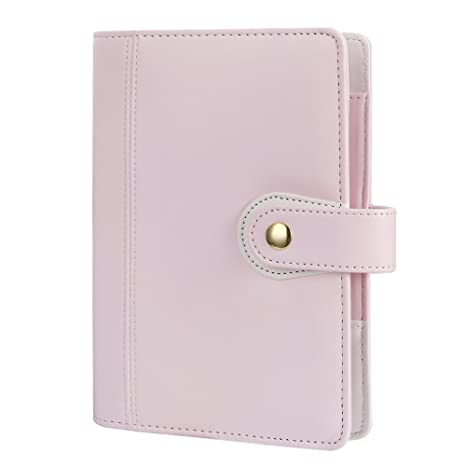 Harphia Personal Size Planner Binder Macaron Pink Notebook Personal Organizer, Diary Journal Agenda, Size 7.48 x 5.51 A6,with Golden Snap Button ...