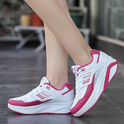Enllerviid Mujeres Malla Forma Ups Zapatillas De Moda Plataforma Cuñas Deportes Fitness Work Out Zapatos 966 Blanco / Rosa