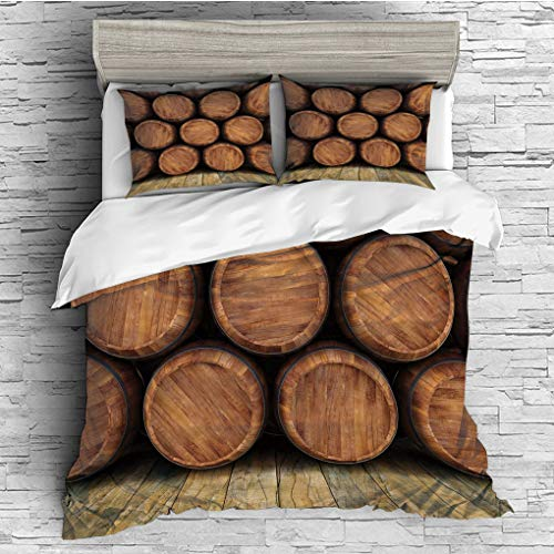 3 Pieces (1 Duvet Cover 2 Pillow Shams)/All Seasons/Home Comforter Bedding Sets Duvet Cover Sets for Adult Kids/Singe/Wine,Wall of Wooden Barrels Wine Stack Storage Gallon Antique Vintage Container Ru ()
