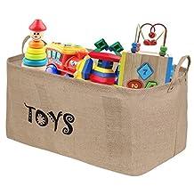 "Ilyever XXL 22"" Jute Toy Chest Baskets Storage Bins Organizer - Perfect for Organizing Toy Storage, Baby Toys, Kids Toys, Dog Toys, Baby Clothing, Children Books, Gift Baskets"