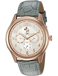 Invicta Men's 'Disney Limited Edition' Quartz Gold and Leather Casual Watch, Color:Grey (Model: 25168)