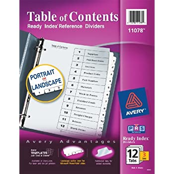 Amazon Avery Ready Index Table Of Contents Dividers 8 Tab 3