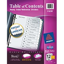 Avery Ready Index Table of Contents Dividers, 12-Tab, 3 Sets (11078)
