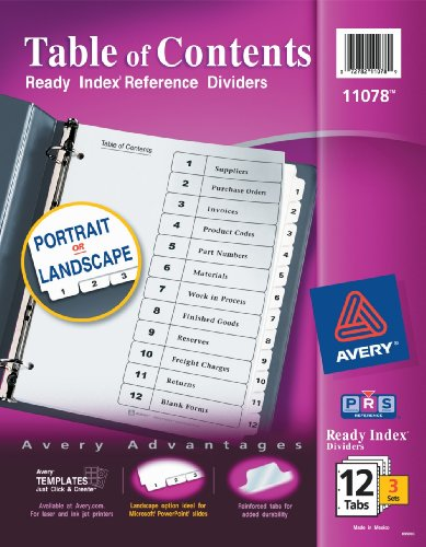 Avery Ready Index Table of Contents Dividers, 12-Tab, 3 Sets (11078) (12 Tab Index)