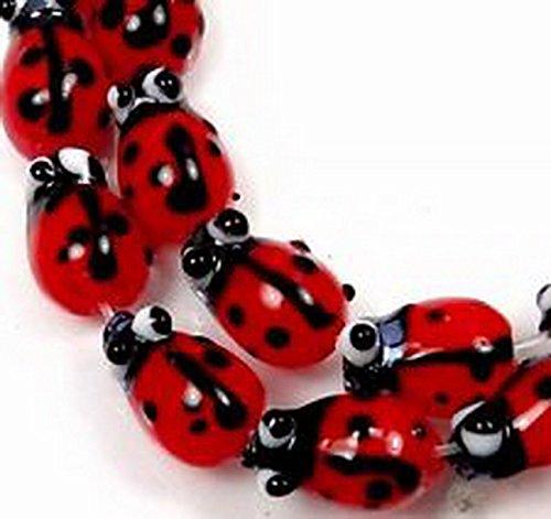 Glamorise Beads #12894 10 Tiny Lampwork Glass Ladybug Beads 12x8mm