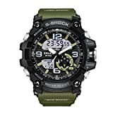 Men's Military Digital Analog Sports Stylish Watch Waterproof Outdoor Electronic LED Backlight Display Alarm Stopwatch - Black