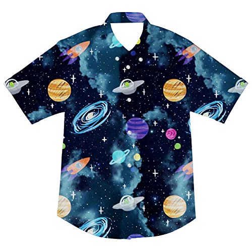 Boys Button Down Shirt Kids Short Sleeve Galaxy Dark Blue Summer Holiday Casual Cool Dress Shirts Blouse Tee Tops 3-4T