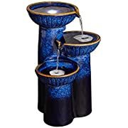 "3-Bowl Ceramic Blue Cobalt 26 3/4"" High LED Fountain"