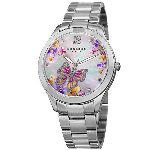 Akribos XXIV Women's Silver-Tone Case with Genuine Swarovski Crystals and White Mother-of-Pearl with Butterfly Dial on Silver-Tone Stainless Steel Bracelet Watch AK953BSS