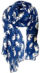 Gorgeous Blue Elephant Print Long & Soft Scarf Shawl/Wrap - Large