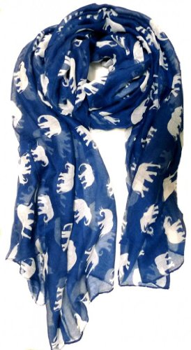 - V28® Gorgeous Blue Elephant Print Long & Soft Scarf Shawl/Wrap - Large