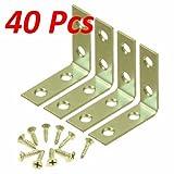 Wideskall 2'' inch Corner Brace Angle Repair Bracket Bright Brass w/ Screws (Pack of 40)