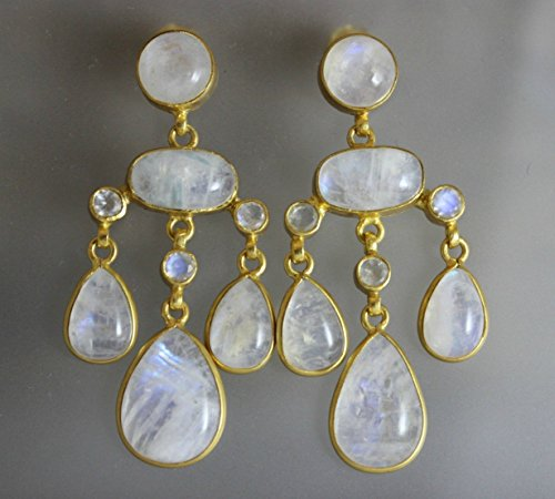 Moonstone Gemstone Gold Plated 925 Sterling Silver Statement Chandelier Post Earrings
