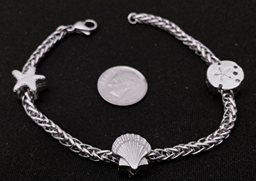 Beach Theme Starter Charm Bracelet with 3 hand cast pewter charms, including the Starfish, Seashell, and Sand Dollar Charms with a Non-Hand Made 8