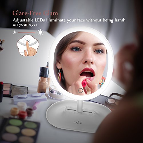 Makeup Mirror Rechargeable LED Lighted with 1X/5 X Magnification, Anjou USB Rechargeable Vanity Mirror Touchscreen Dimmable LED Light for Countertop Cosmetic Makeup