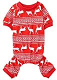 "Christmas Reindeer Costume Xmas Pet Clothes for Dog Pajamas Soft Christmas PJS, Back Length 16"" Medium Red"