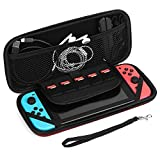 TNP Nintendo Switch Case - Carrying Case Shell Pouch Protective Cover Portable Travel Case Bag with Micro SD Card Game Card Slot Storage Accessories for Nintendo Switch (Red)