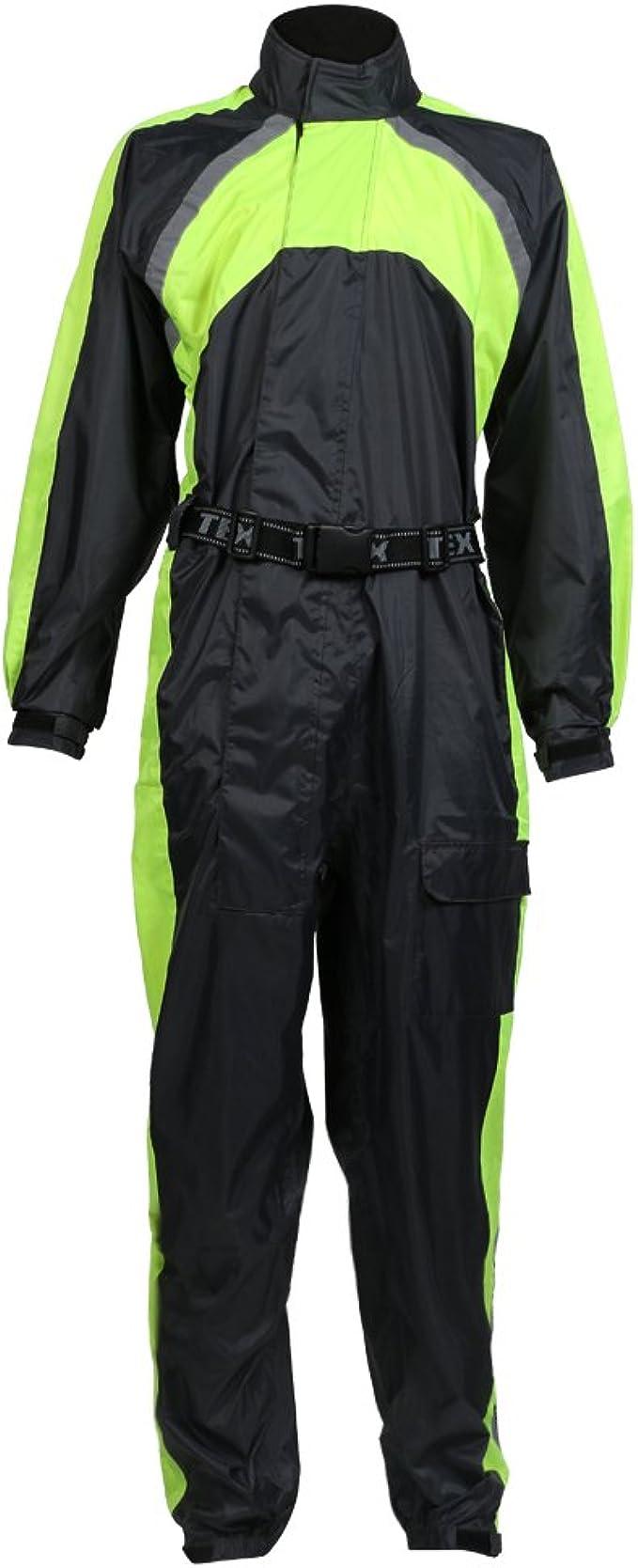 Texpeed Motorrad Regenanzug Mit Tragetasche Wasserdicht Elastisch Schwarz Warnfarbe Bekleidung